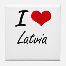 I Love Latvia Artistic Design Tile Coaster