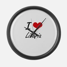 I Love Liberia Artistic Design Large Wall Clock
