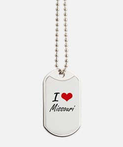 I Love Missouri Artistic Design Dog Tags