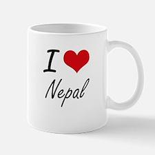 I Love Nepal Artistic Design Mugs