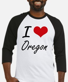 I Love Oregon Artistic Design Baseball Jersey