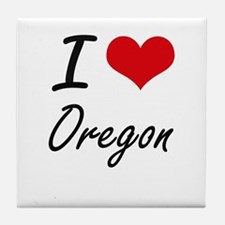 I Love Oregon Artistic Design Tile Coaster