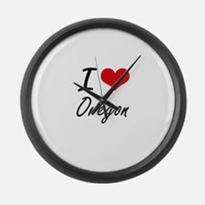 I Love Oregon Artistic Design Large Wall Clock