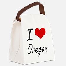 I Love Oregon Artistic Design Canvas Lunch Bag