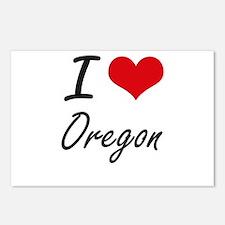 I Love Oregon Artistic De Postcards (Package of 8)