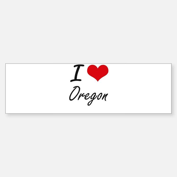 I Love Oregon Artistic Design Bumper Bumper Bumper Sticker