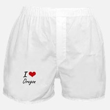 I Love Oregon Artistic Design Boxer Shorts