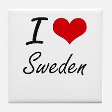 I Love Sweden Artistic Design Tile Coaster