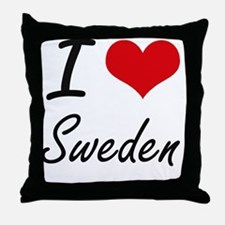 I Love Sweden Artistic Design Throw Pillow