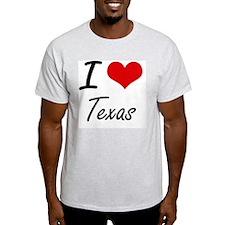 I Love Texas Artistic Design T-Shirt