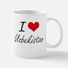 I Love Uzbekistan Artistic Design Mugs