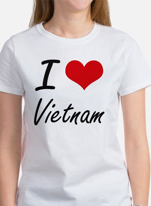 I Love Vietnam Artistic Design T-Shirt
