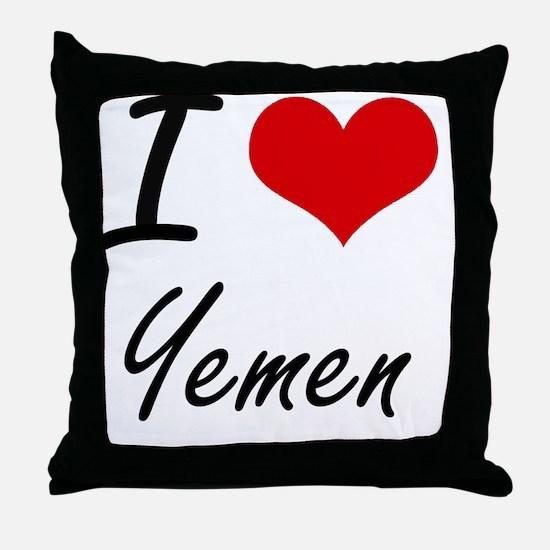 I Love Yemen Artistic Design Throw Pillow