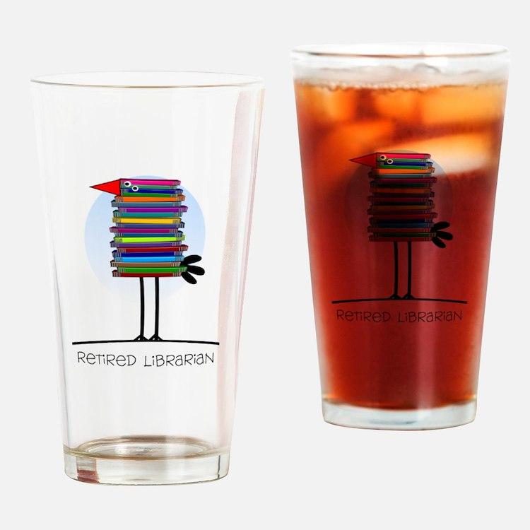 Retired Librarian BIRD Drinking Glass