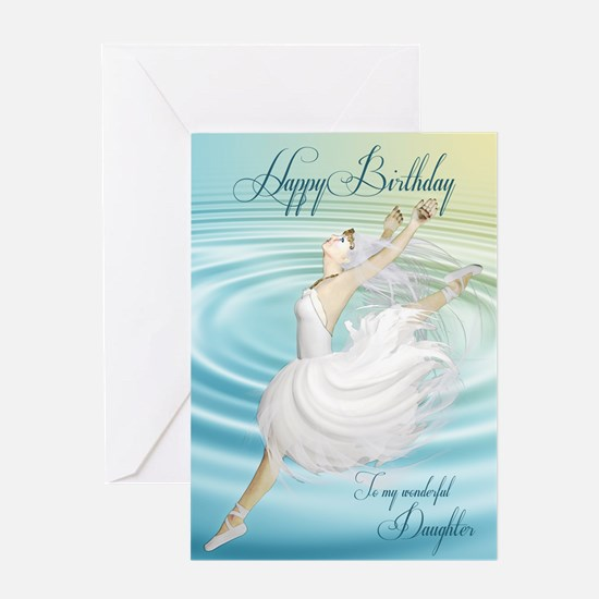 Daughter, leaping ballerina birthday card Greeting