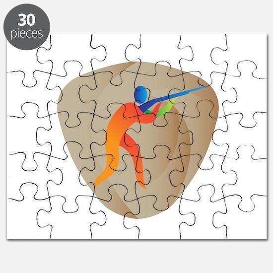 Trap Shooting Crest Retro Puzzle
