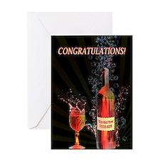 Boob job congratulations with splashing wine Greet