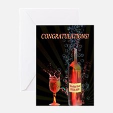 Boob job congratulations with splashing wine Greet