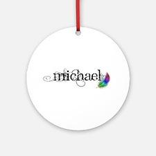 Michael Scipt + Feather Round Ornament
