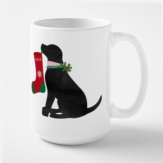 Christmas Black Lab Preppy Dog Mugs