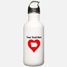 Iowa Heart Cutout Water Bottle