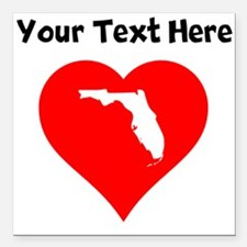 "Florida Heart Cutout Square Car Magnet 3"" x 3"""