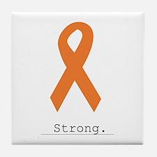 Strong. Orange Ribbon Tile Coaster