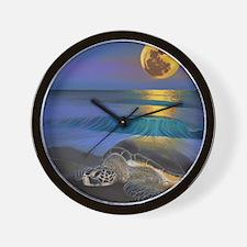 Sea Turtle Full Moon Wall Clock