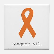 Conquer All. Orange Rib Tile Coaster