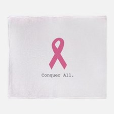 Conquer All. Pink Rib Throw Blanket
