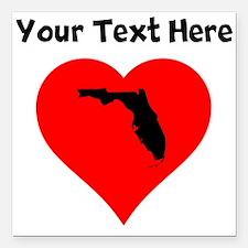 "Florida Heart Square Car Magnet 3"" x 3"""