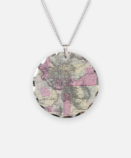 Vintage Map of Montana, Wyom Necklace