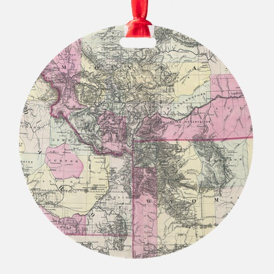 Vintage Map of Montana, Wyoming and Ornament