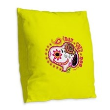 Day of the Dog Snoopy Face Burlap Throw Pillow