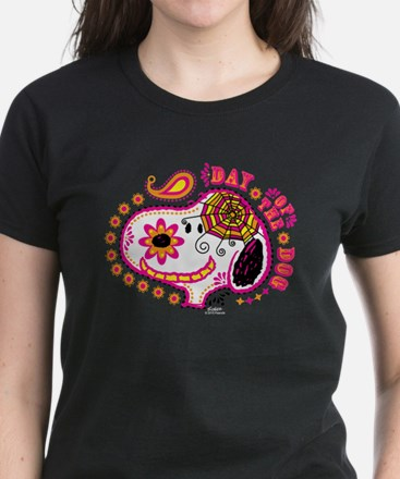 Day of the Dog Snoopy Face Women's Dark T-Shirt
