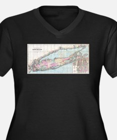 Vintage Map of Long Island (1880 Plus Size T-Shirt