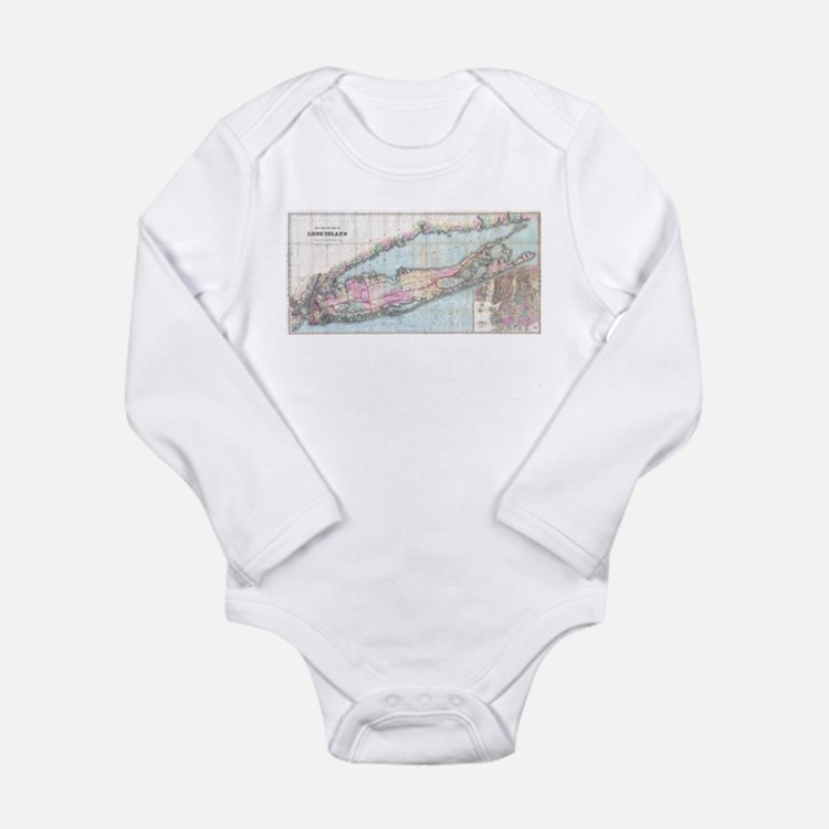 Vintage Map of Long Island (1880) Body Suit