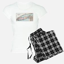 Vintage Map of Long Island Pajamas