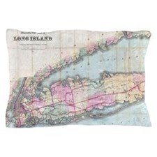 Vintage Map of Long Island (1880) Pillow Case