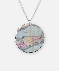 Vintage Map of Long Island ( Necklace Circle Charm