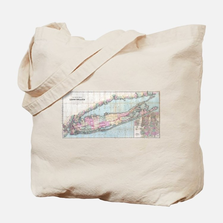Vintage Map of Long Island (1880) Tote Bag