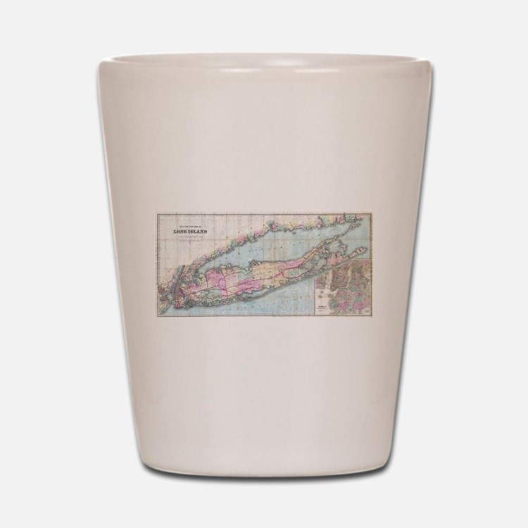 Vintage Map of Long Island (1880) Shot Glass