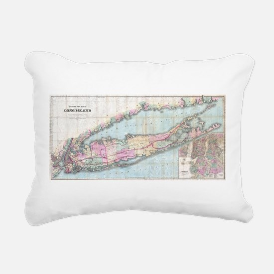 Vintage Map of Long Isla Rectangular Canvas Pillow