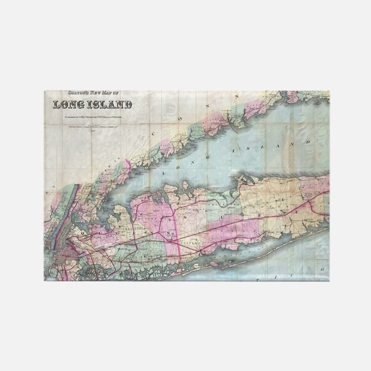 Vintage Map of Long Island (1880) Magnets