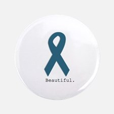 Beautiful. Teal Ribbon Button