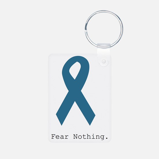 Fear Nothing. Teal Rib Aluminum Photo Keychain