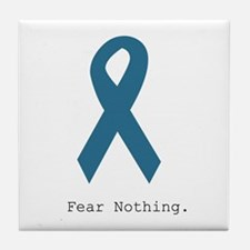 Fear Nothing. Teal Rib Tile Coaster