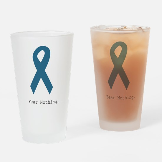 Fear Nothing. Teal Rib Drinking Glass