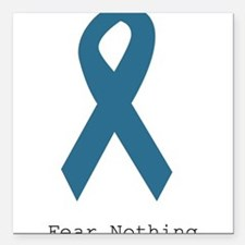 """Fear Nothing. Teal Rib Square Car Magnet 3"""" x 3"""""""