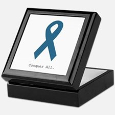 Conquer All. Teal Ribbon Keepsake Box